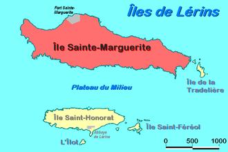 Île Sainte-Marguerite - Location of Sainte-Marguerite within Lérins islands