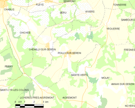 Mapa obce Poilly-sur-Serein