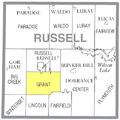 Map highlighting Grant Township, Russell County, Kansas.png