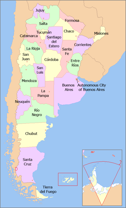 A map of Argentina, showing its twenty-three constituent provinces and the Autonomous City of Buenos Aires Map of Argentina with provinces names en.png