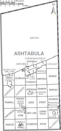 Map of Ashtabula County, Ohio With Municipal and Township Labels