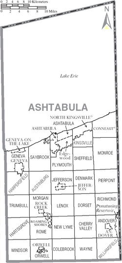 Municipalities and townships of Ashtabula County.