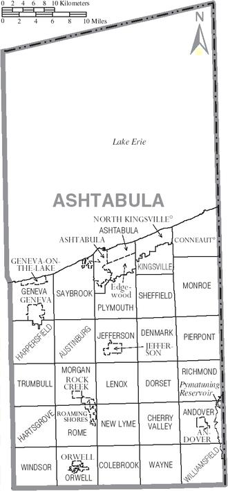 Ashtabula County, Ohio - Map of Ashtabula County, Ohio with Municipal and Township Labels