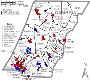 Cambria County, Pennsylvania - Map of Cambria County, Pennsylvania with Municipal Labels showing Cities and Boroughs (red), Townships (white), and Census-designated places (blue).