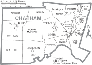 Chatham County, North Carolina - Map of Chatham County, North Carolina With Municipal and Township Labels