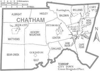 Chatham County, North Carolina - Map of Chatham County, North Carolina With Municipal and Township Labels