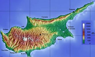 Roman Cyprus - Topographical Map of Cyprus with Roman Cities