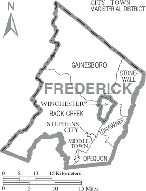Frederick County, Virginia - Map of Frederick County, Virginia with Municipal and Magisterial District Labels