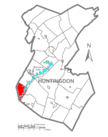 Map of Huntingdon County, Pennsylvania Highlighting Hopewell Township