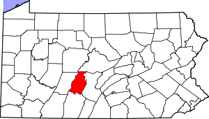 Map of Pennsylvania highlighting Blair County