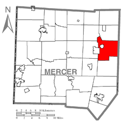 Location of Sandy Lake Township in Mercer County