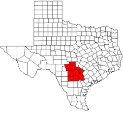 Map of Texas highlighting counties served by the Alamo Area Council of Governments.png
