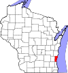 State map highlighting Ozaukee County