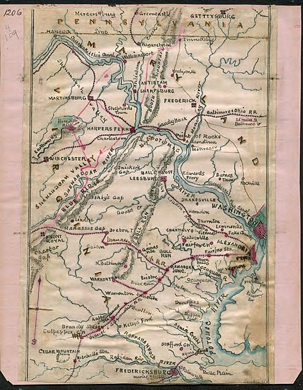 Map of the Potomac River and its environs circa 1862 by Robert Knox Sneden. Map of the Potomac River ~1862 by Sneden LOC.jpg
