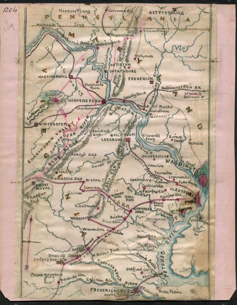 Map of the Potomac River ~1862 by Sneden LOC