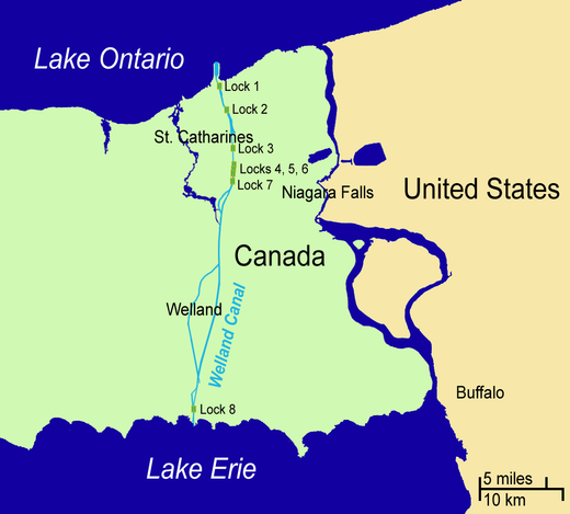 The Welland Canal connects Lake Ontario and Lake Erie through a series of eight locks, allowing ships to bypass the 51 m (167 ft) high Niagara Falls. Map of the Welland Canal.png