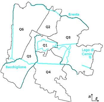 Mappa di Padova e dei suoi quartieri