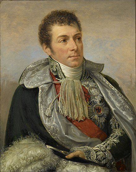 Marshal Louis-Alexandre Berthier by Andrea Appiani. Berthier was Napoleon's Chief of Staff from the start of his first Italian campaign in 1796 until his first abdication in 1814. The operational efficiency of the Grande Armee owed much to his considerable administrative and organizational skills. Marechal Louis-Alexandre Berthier.jpg