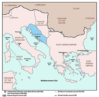 Dalmatia - Independent Dalmatia - Extent of Marcellinus' Control (454-468) and Julius Nepos' Control (468-480).
