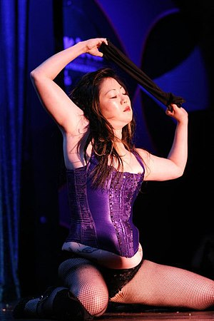 Margaret Cho performing a burlesque act at the...