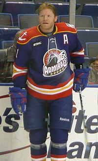 Mark Parrish standing on the ice with his hockey stick as a part of the Norfolk Admirals.