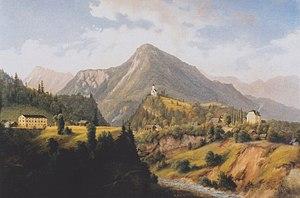 Feistritz im Rosental - Feistritz im Rosental, painting by Markus Pernhart (1824–1871)