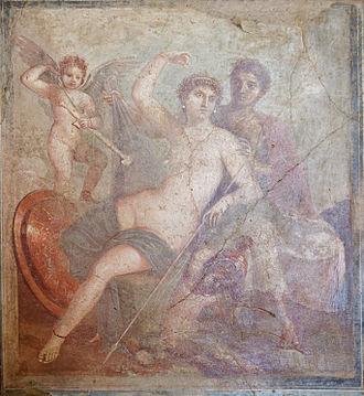 Mars (mythology) - Wall painting (mid-1st century AD) from which the House of Venus and Mars at Pompeii takes its name