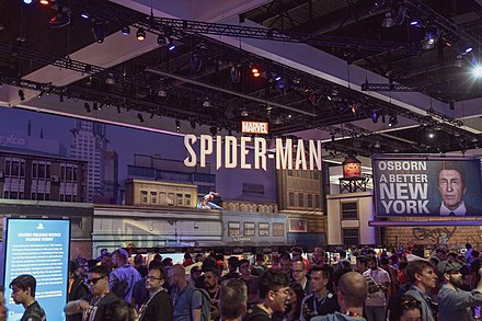 A promotional booth of the game at E3 2018 Marvel's Spider-Man stand at E3 2018.jpg