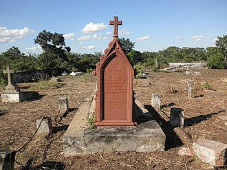 Mary Moffat Livingstone - The gravestone of Mary Livingstone in Chupanga. The inscription reads: Here repose the mortal remains of Mary Moffat, the beloved wife of Doctor Livingstone, in humble hope of a joyful resurrection by our saviour Jesus Christ. She died in Shupanga House, 27 April 1862, aged 41 years.
