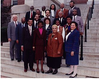 Fulton with the 1992 Legislative Black Caucus of Maryland Maryland legslative black caucus 1992.jpg