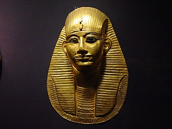 English: A Grave mask of pharaoh Amenemope of ...