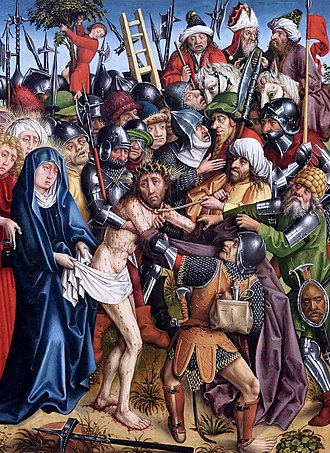 Hans Hirtz - Master of the Karlsruhe Passion (Hans Hirtz?), The Disrobing of Christ from the Karlsruhe Passion, c.1440.