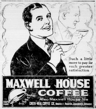 Maxwell House - Maxwell House newspaper ad from 1921