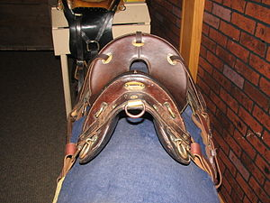 McClellan saddle - M1904 McClellan saddle in russet-brown leather, World War I period. Fort Kearny State Museum