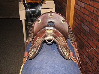 McClellan saddle - M1904 McClellan saddle in russet-brown leather, World War I period. Fort Kearny State Museum