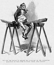 """A political cartoon. An imperially confident-looking man in an exaggerated military officer's uniform sits upon a plank of wood marked """"Financial question,"""" which is balanced between two saw-horses. The man's weight is bending the wood rather dramatically."""