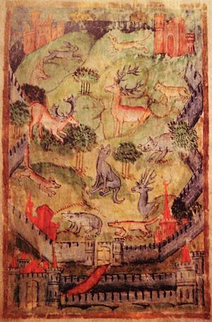 Deer park (England) - Depiction of a medieval hunting park from a 15th-century manuscript version of The Master of Game, MS. Bodley 546 f. 3v