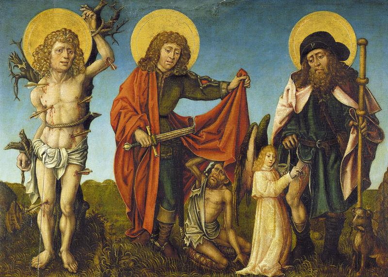 File:Meister des Schwabacher Crispinus-Altars Hl Sebastian Martin und Rochus c1500.jpg