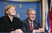La Merkel e Bush nel 2006