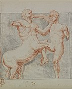 Ancient drawing of fight between a man and a centaur.