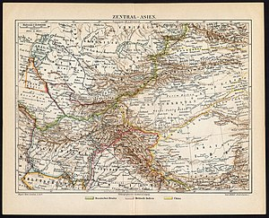 History of Kyrgyzstan - Historical map of Central Asia showing Kyrgyzstan (map circa 1885-1890)