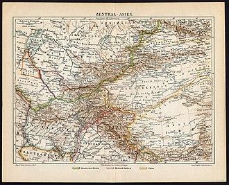 History of Kyrgyzstan - Historical map of Central Asia showing Kyrgyzstan (map circa 1885-1890)