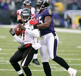 Terrell Suggs - Suggs (right) and Michael Vick of the Atlanta Falcons in 2006.