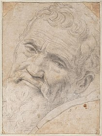 Homer makes a reference to the Italian painter Michelangelo. Michelango Portrait by Volterra.jpg