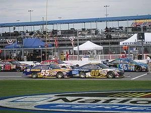 Michael Waltrip Racing - Michael Waltrip's No. 55 and Michael McDowell's No. 00 on pit road at Daytona in July 2008