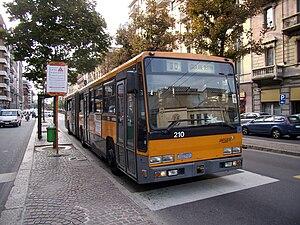 Trolleybuses in Milan - Breda 4001, no 210, at Via Tonale.