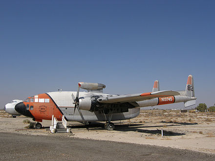 C-119C operated by Hemet Valley Flying Service as Tanker 82 before being retired; now at the Milestones of Flight, Museum, Fox Field, Lancaster, California (note the jet pod above the fuselage). - Fairchild C-119 Flying Boxcar