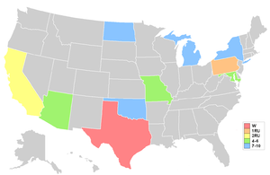 Miss Teen USA 1996 - Map showing placements by state