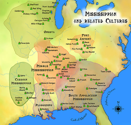 A map showing approximate areas of various Mississippian and related cultures. Cahokia is located near the center of this map in the upper part of the Middle Mississippi area. Mississippian cultures HRoe 2010.jpg