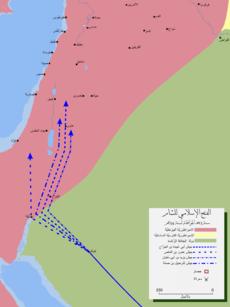 خريطة مفصلة لأجتياح المسلمين لبلاد الشام